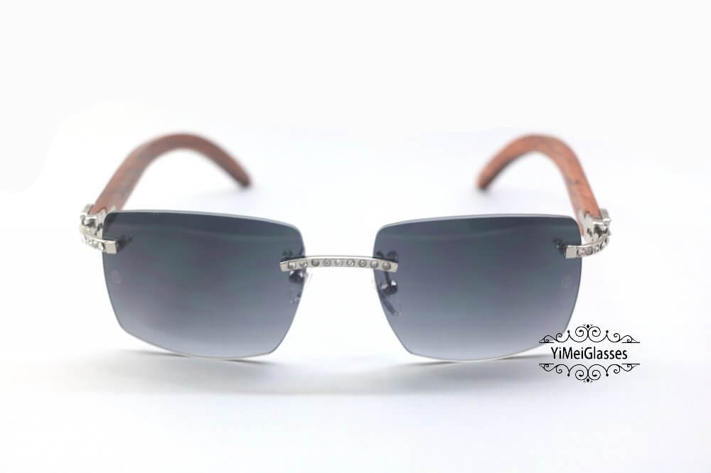 Cartier Wooden Diamond Rimless Sunglasses CT3524012插图