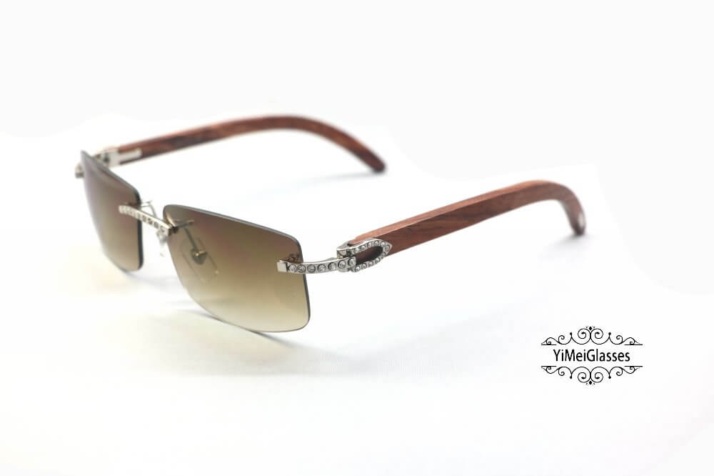 Cartier Wooden Diamond Rimless Sunglasses CT3524012插图(10)