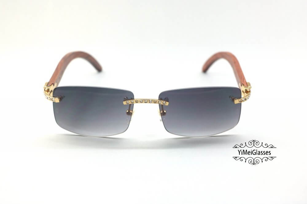 Cartier Wooden Diamond Rimless Sunglasses CT3524012插图(12)