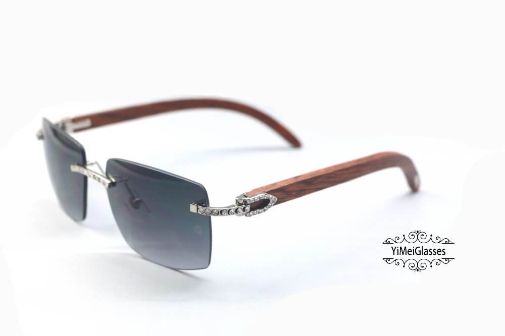 Cartier Wooden Diamond Rimless Sunglasses CT3524012插图(1)