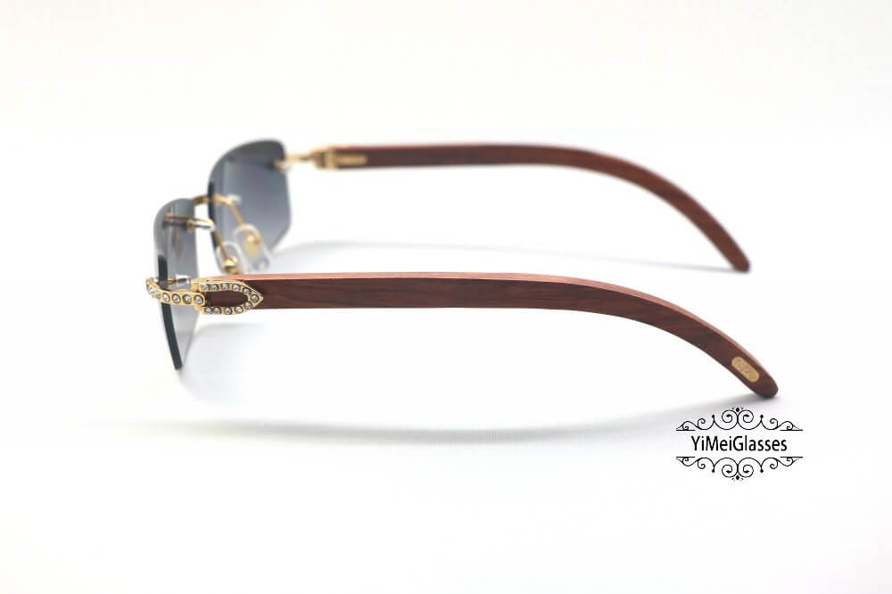 Cartier Wooden Diamond Rimless Sunglasses CT3524012插图(14)