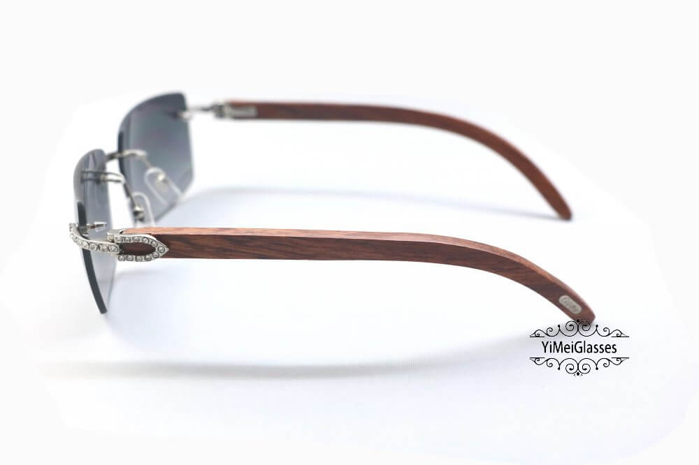 Cartier Wooden Diamond Rimless Sunglasses CT3524012插图(2)