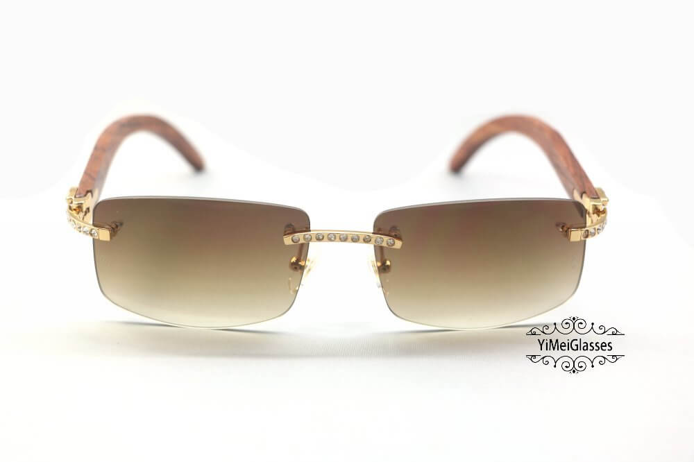 Cartier Wooden Diamond Rimless Sunglasses CT3524012插图(6)