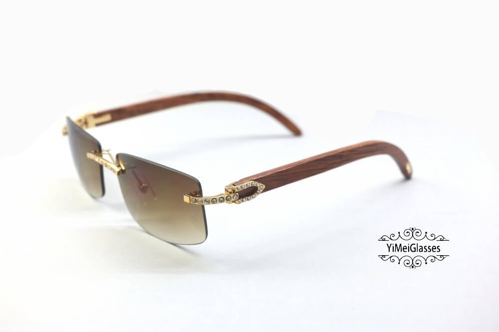 Cartier Wooden Diamond Rimless Sunglasses CT3524012插图(7)