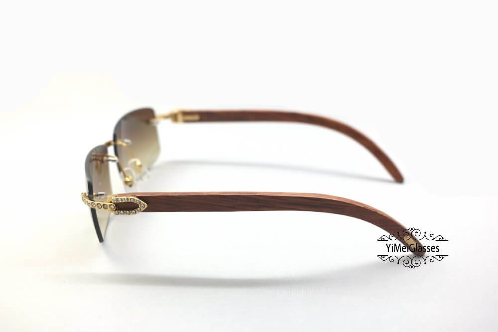 Cartier Wooden Diamond Rimless Sunglasses CT3524012插图(8)