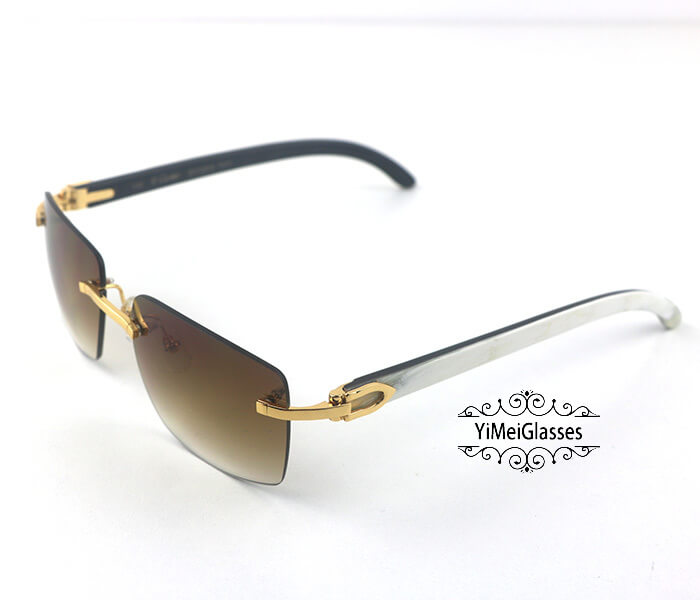 Cartier Double Color Horn Classic Rimless Sunglasses CT3524012插图(1)