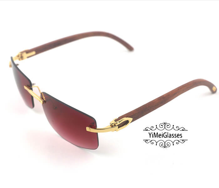 Cartier Wooden Classic Rimless Sunglasses CT3524012插图7