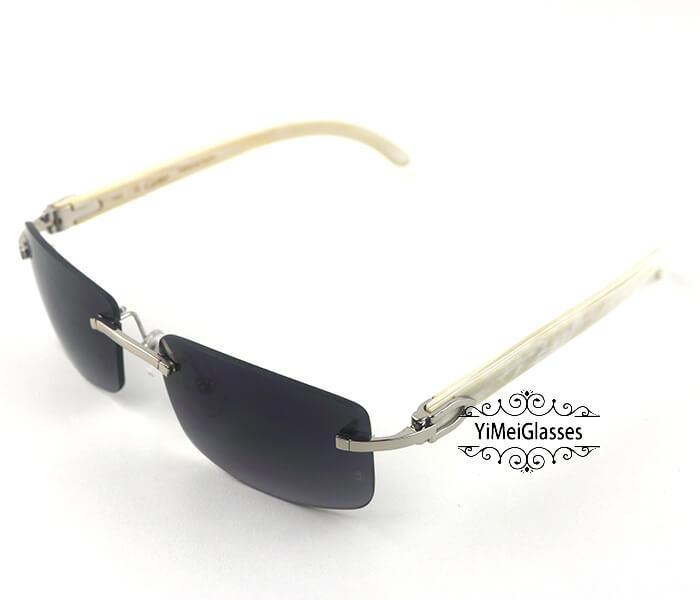 Cartier Buffalo Horn Classic Rimless Sunglasses CT3524012插图8