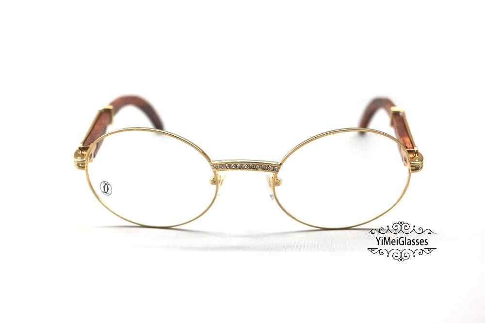 Cartier Wooden Diamond Full Frame Wooden Eyeglasses CT7550178-55插图