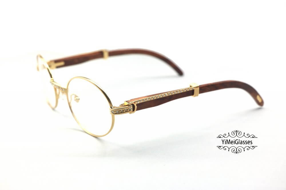 Cartier Wooden Diamond Full Frame Wooden Eyeglasses CT7550178-55插图(1)