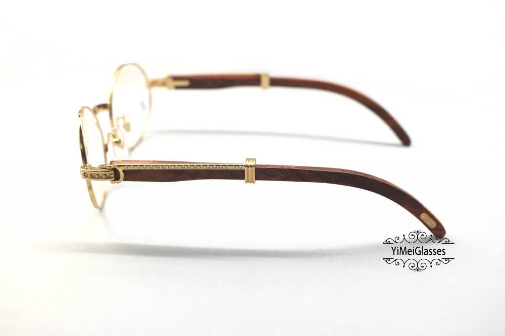 Cartier Wooden Diamond Full Frame Wooden Eyeglasses CT7550178-55插图(2)