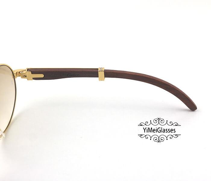 Cartier RoseWood Full Frame Classic Sunglasses CT7550178-57插图(4)