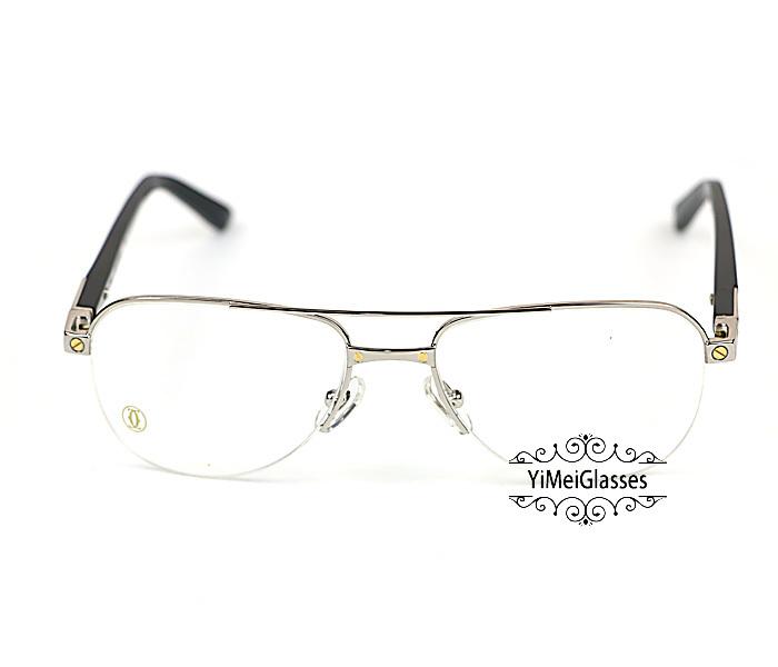 Cartier Acetate&Metal Half Frame Double Bridge Design Optical Glasses CT6101002插图
