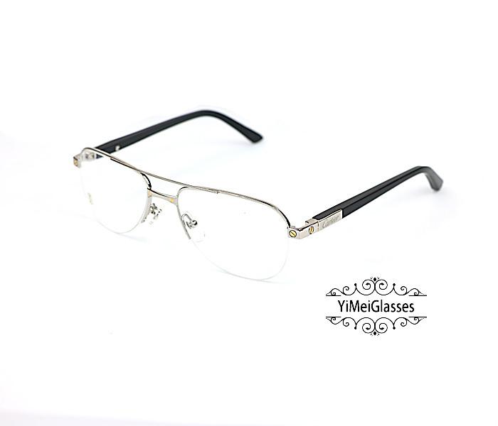 Cartier Acetate&Metal Half Frame Double Bridge Design Optical Glasses CT6101002插图1