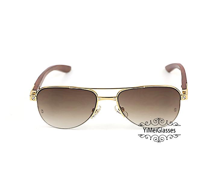 Cartier Wooden Half Frame Double Bridge Design Sunglasses CT6101002插图
