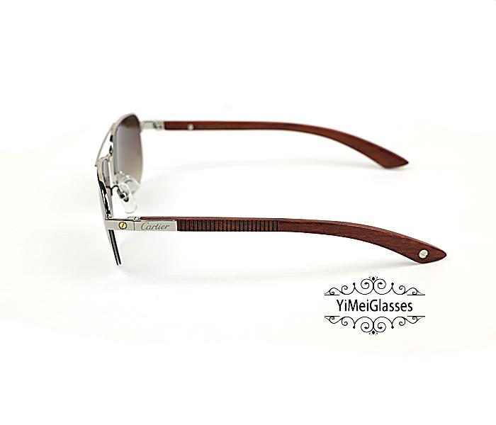 Cartier Wooden Half Frame Double Bridge Design Sunglasses CT6101002插图8