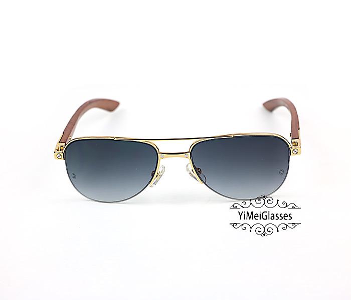 Cartier Wooden Half Frame Double Bridge Design Sunglasses CT6101002插图9