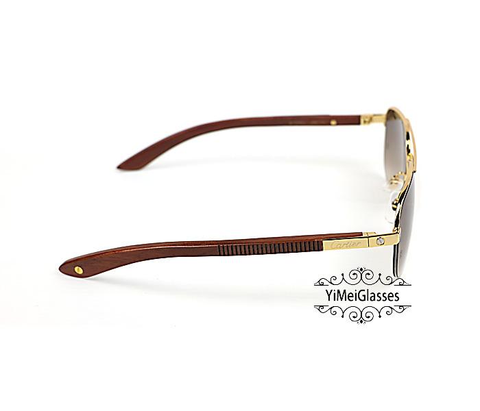 Cartier Wooden Half Frame Double Bridge Design Sunglasses CT6101002插图5
