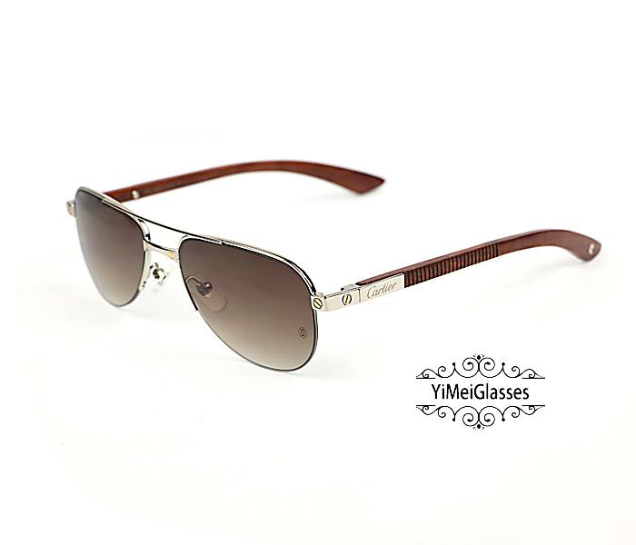 Cartier Wooden Half Frame Double Bridge Design Sunglasses CT6101002插图7