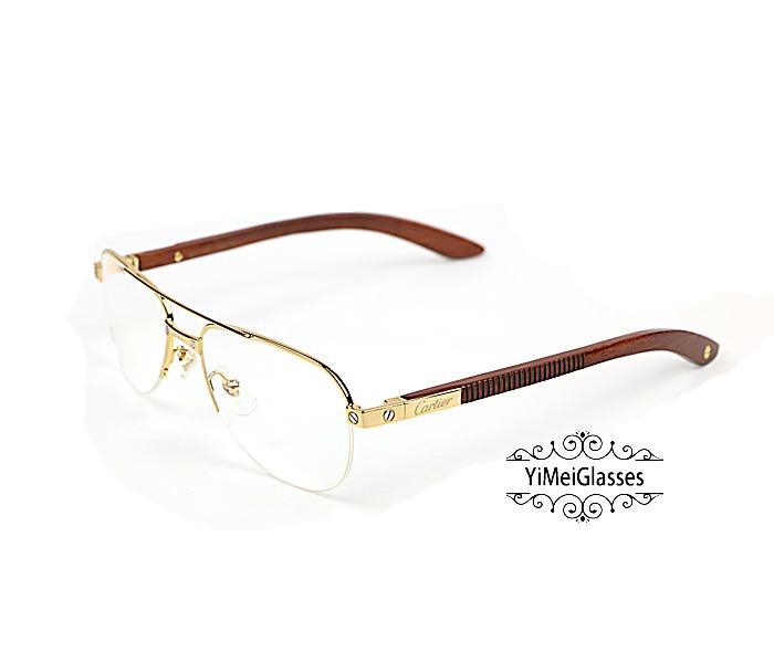 Cartier Wooden Half Frame Double Bridge Design Optical Glasses CT6101002插图1