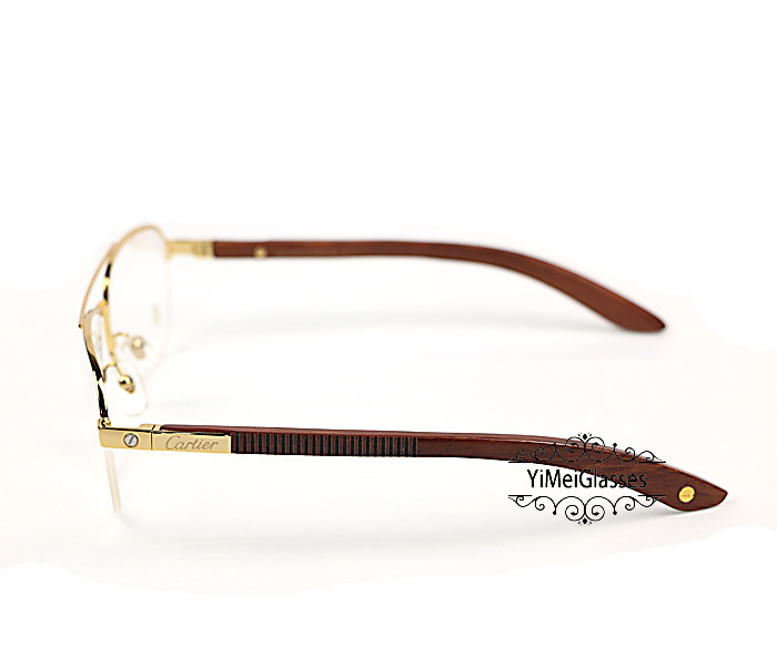 Cartier Wooden Half Frame Double Bridge Design Optical Glasses CT6101002插图2