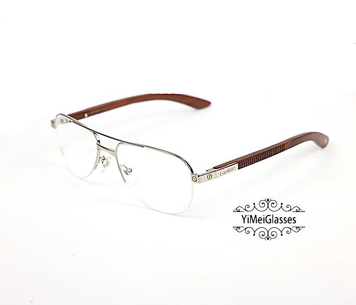 Cartier Wooden Half Frame Double Bridge Design Optical Glasses CT6101002插图6