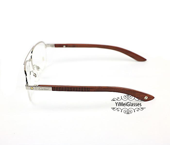 Cartier Wooden Half Frame Double Bridge Design Optical Glasses CT6101002插图7