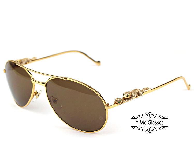 Cartier PANTHÈRE Aviators Diamond Metal Full Frame Sunglasses CT6384080插图2