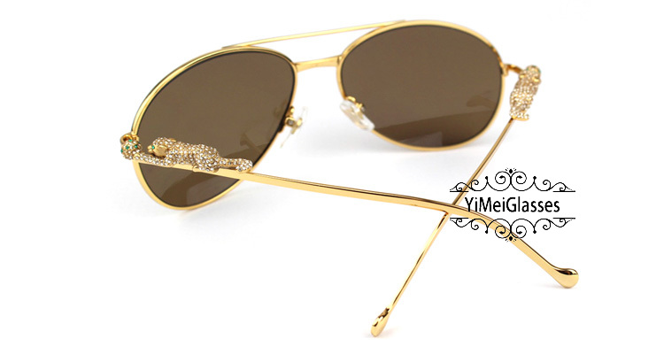Cartier PANTHÈRE Aviators Diamond Metal Full Frame Sunglasses CT6384080插图6