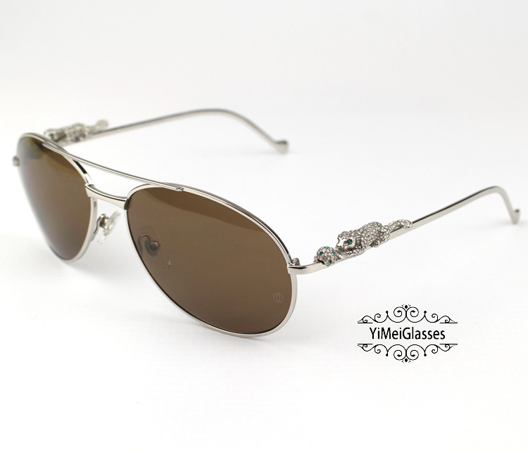 Cartier PANTHÈRE Aviators Diamond Metal Full Frame Sunglasses CT6384080插图(11)