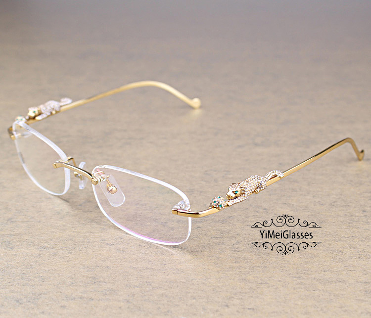 Cartier PANTHÈRE Metal Diamond Classic Rimless EyeGlasses CT6384086插图