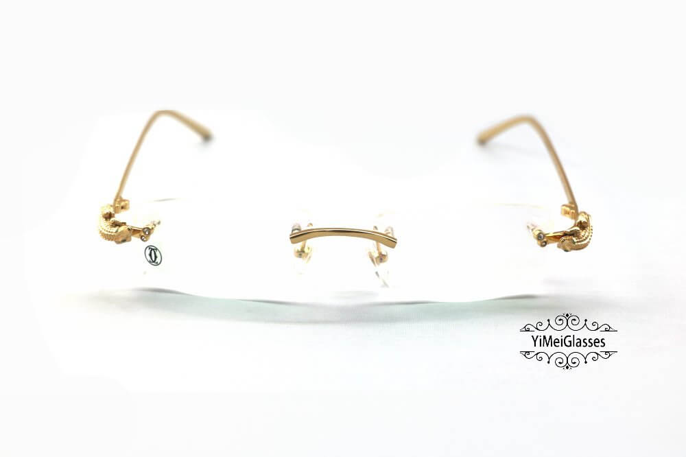 Cartier Crocodile Decor Diamond Rimless EyeGlasses CT6438289插图