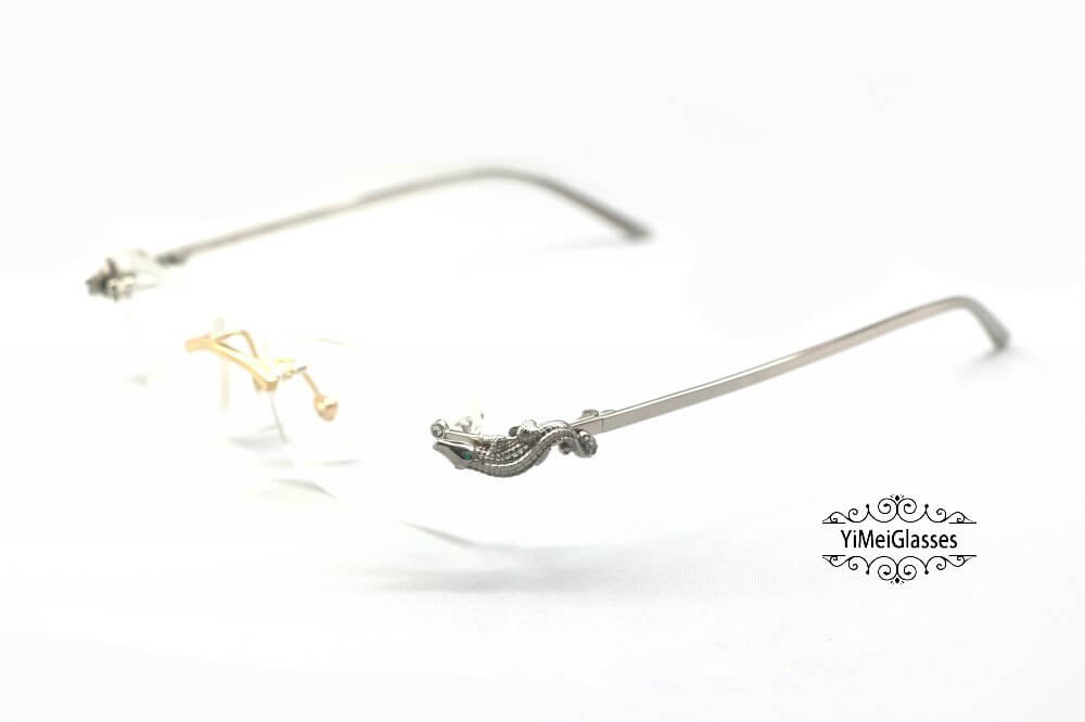 Cartier Crocodile Decor Diamond Rimless EyeGlasses CT6438289插图(10)