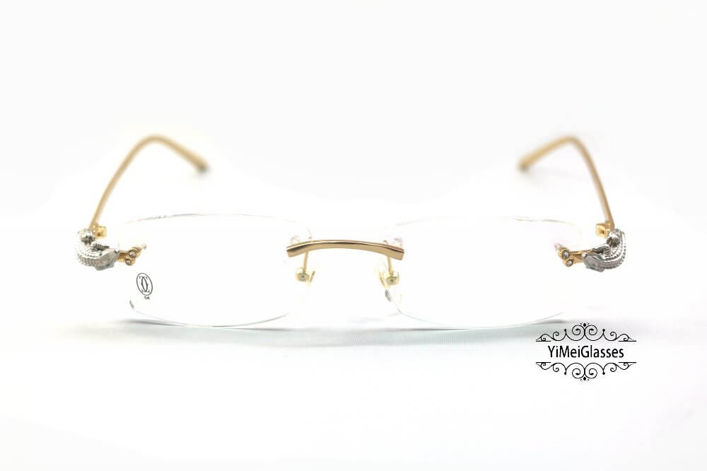 Cartier Crocodile Decor Diamond Rimless EyeGlasses CT6438289插图(12)