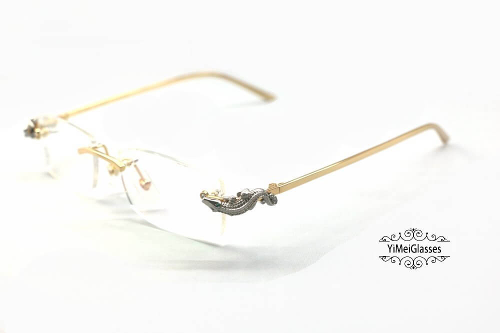 Cartier Crocodile Decor Diamond Rimless EyeGlasses CT6438289插图(13)