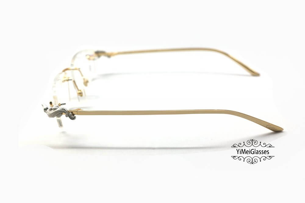 Cartier Crocodile Decor Diamond Rimless EyeGlasses CT6438289插图(14)