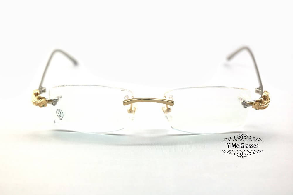 Cartier Crocodile Decor Diamond Rimless EyeGlasses CT6438289插图(15)