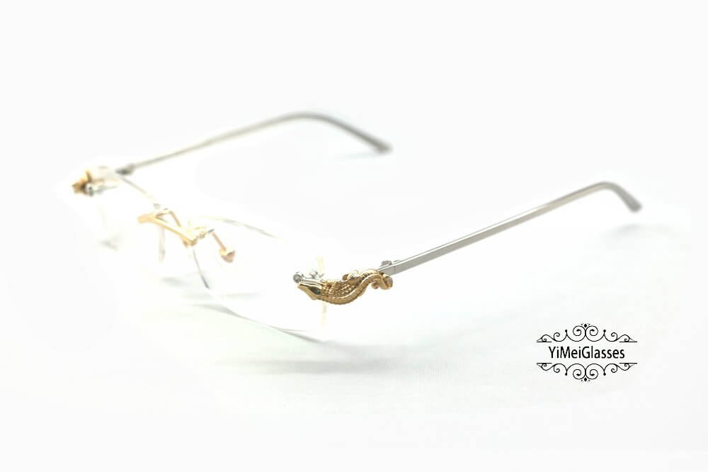 Cartier Crocodile Decor Diamond Rimless EyeGlasses CT6438289插图(16)