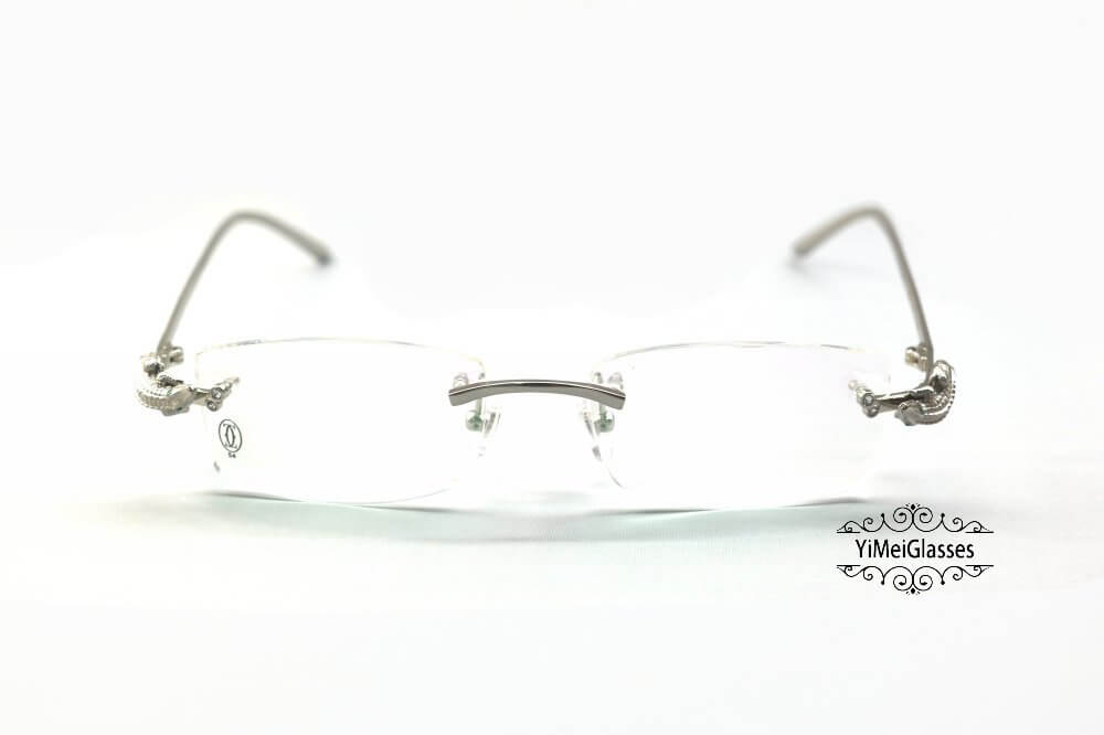 Cartier Crocodile Decor Diamond Rimless EyeGlasses CT6438289插图(6)