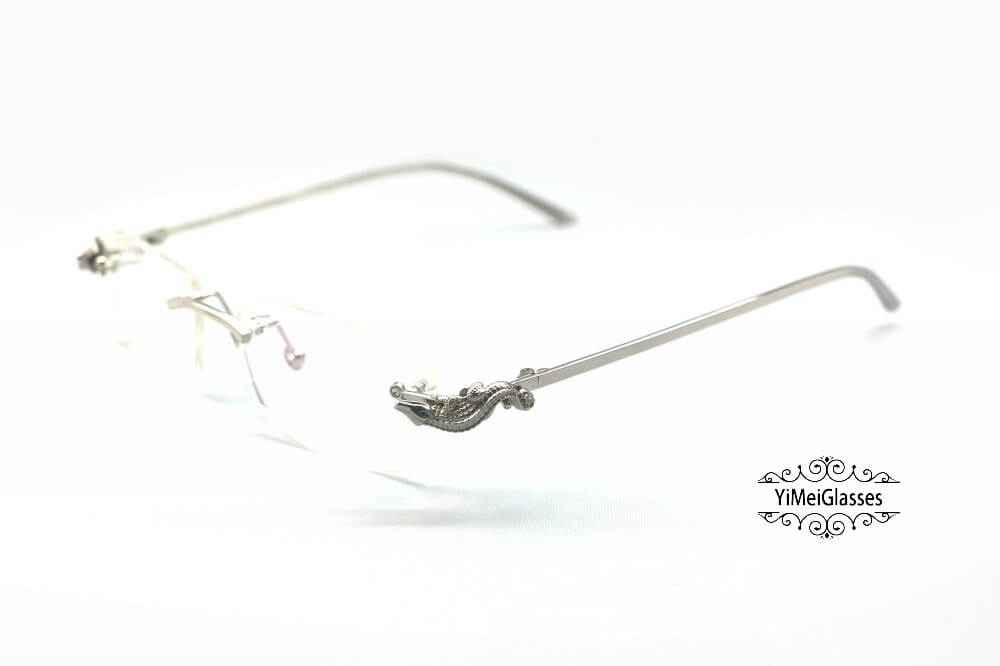 Cartier Crocodile Decor Diamond Rimless EyeGlasses CT6438289插图(7)