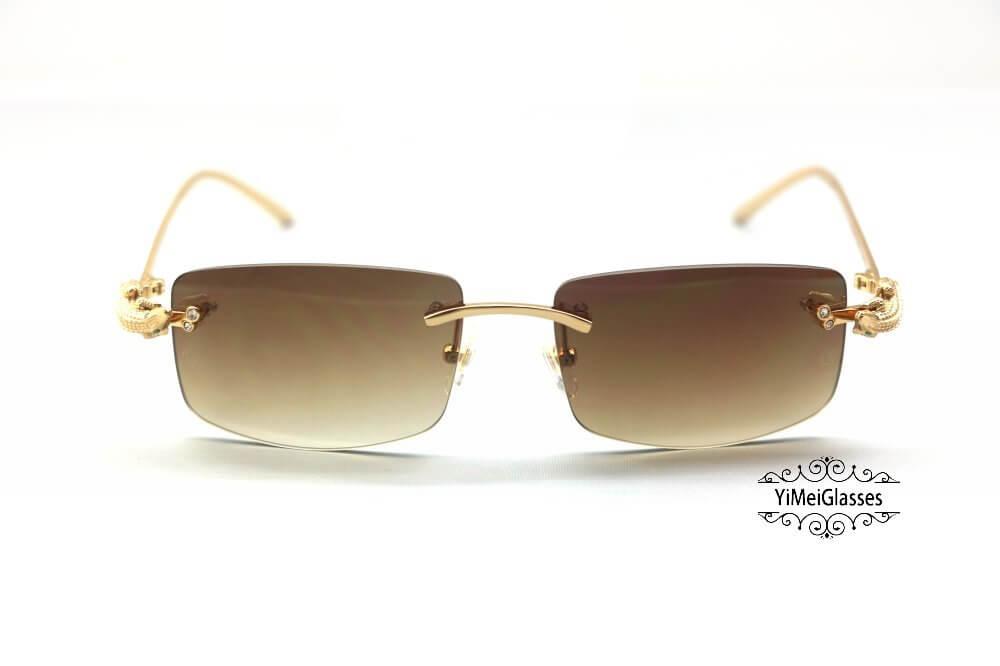 Cartier Crocodile Decor Diamond Rimless Sunglasses CT6438289插图