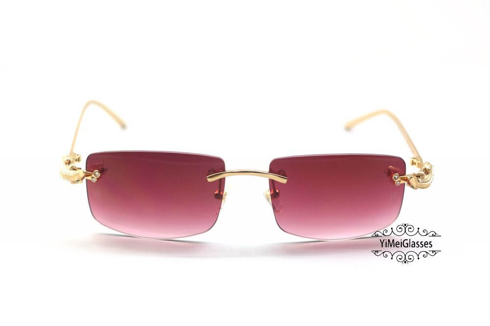 Cartier Crocodile Decor Diamond Rimless Sunglasses CT6438289插图(12)
