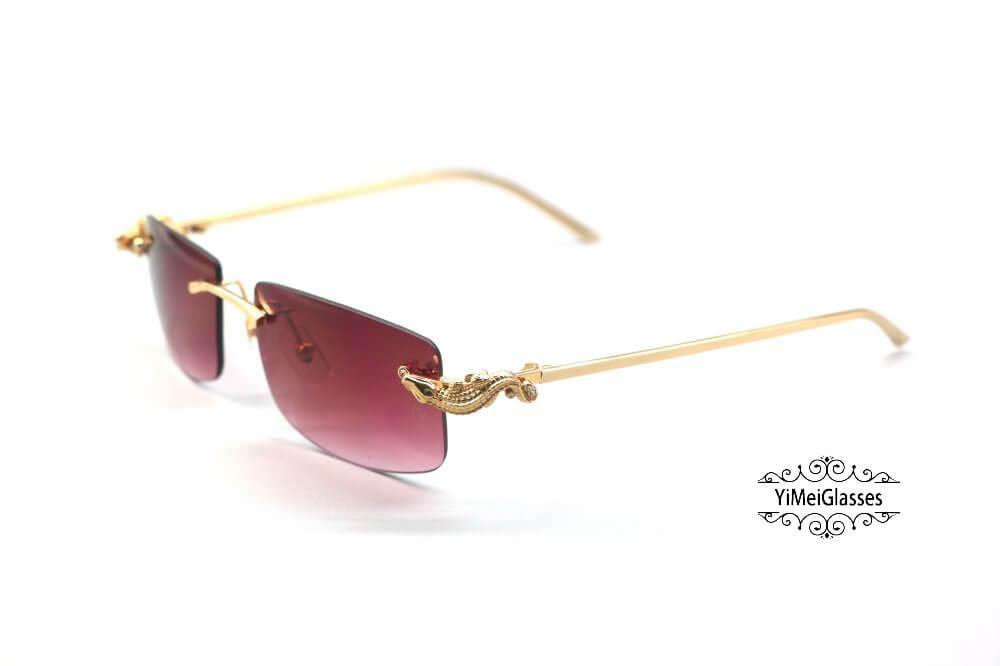 Cartier Crocodile Decor Diamond Rimless Sunglasses CT6438289插图(13)