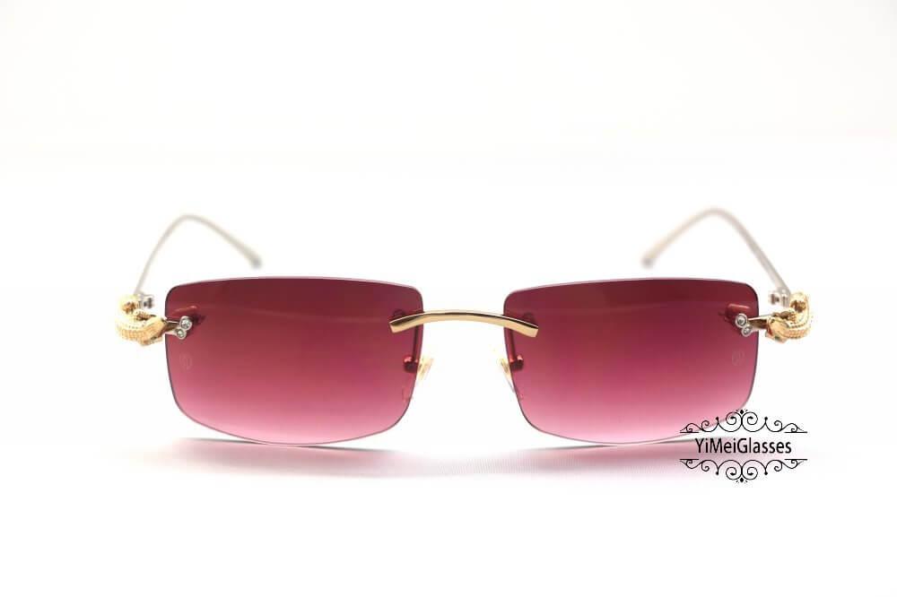Cartier Crocodile Decor Diamond Rimless Sunglasses CT6438289插图(15)