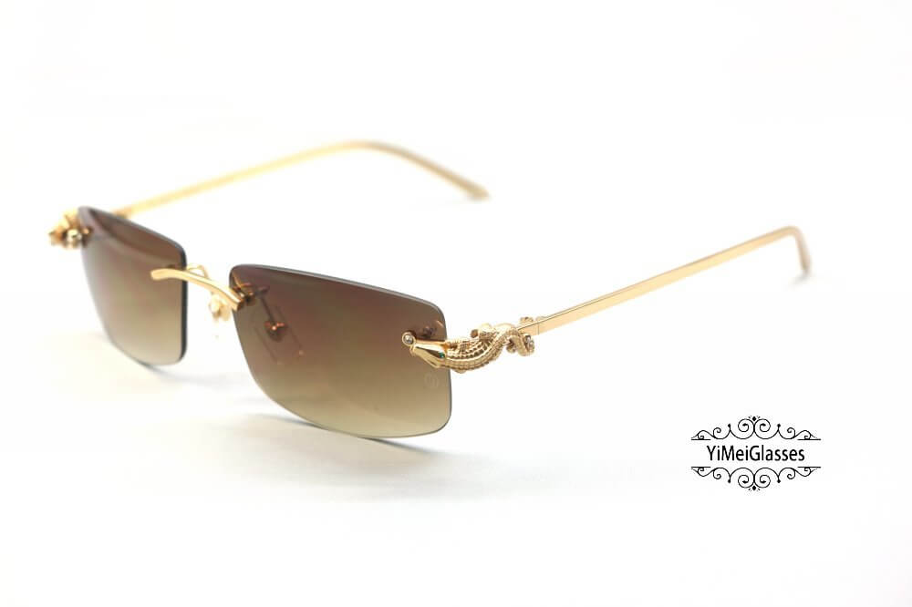 Cartier Crocodile Decor Diamond Rimless Sunglasses CT6438289插图(1)
