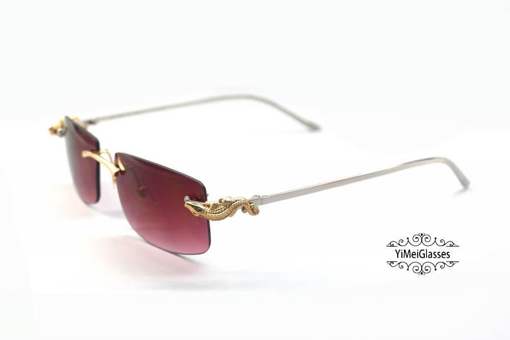 Cartier Crocodile Decor Diamond Rimless Sunglasses CT6438289插图(16)