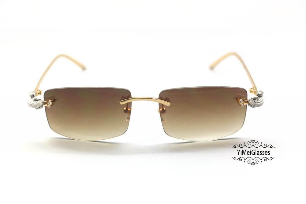 Cartier Crocodile Decor Diamond Rimless Sunglasses CT6438289插图(21)