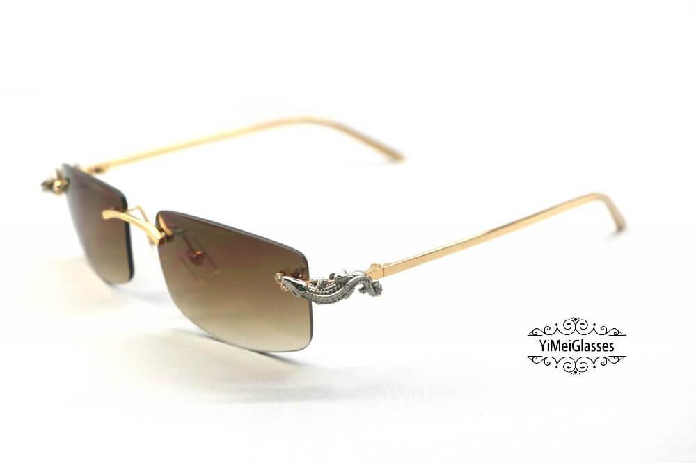 Cartier Crocodile Decor Diamond Rimless Sunglasses CT6438289插图(22)