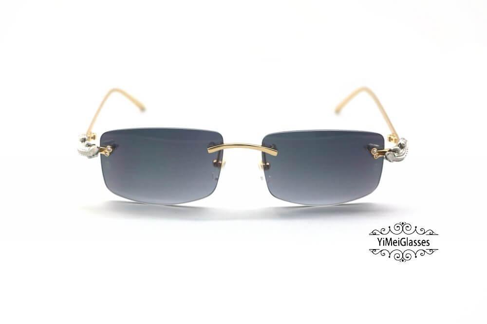 Cartier Crocodile Decor Diamond Rimless Sunglasses CT6438289插图(23)