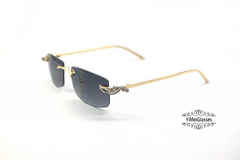 Cartier Crocodile Decor Diamond Rimless Sunglasses CT6438289插图(24)